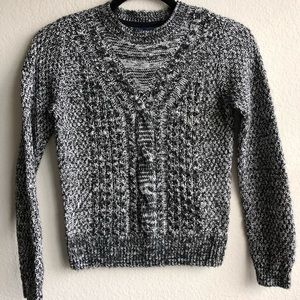 Gap Kids Black White Cable Knit Crew Sweater L 10